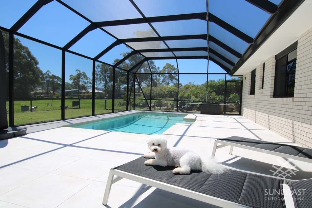Outdoor enclosure with dog