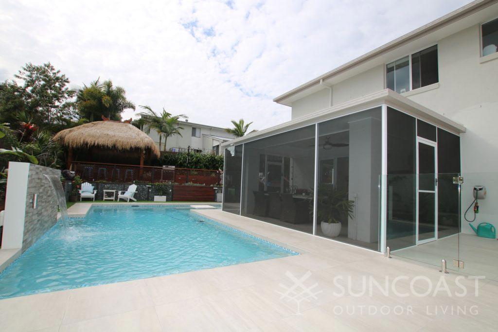 Pool safe screen on patio enclosure