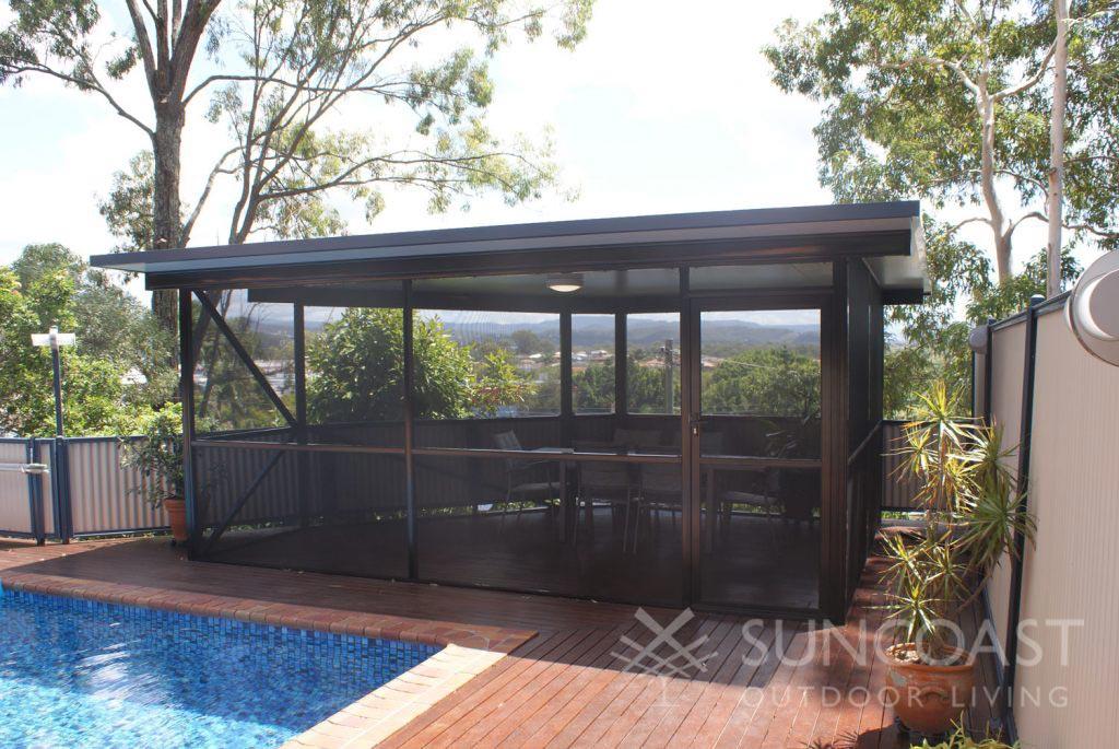 Patio enclosure using pool safe screen