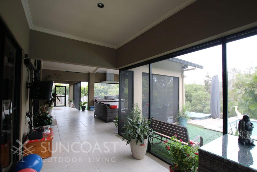 Outdoor area with pool safe screens