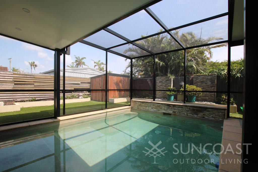 combined pool and patio enclosure, pool safe screen