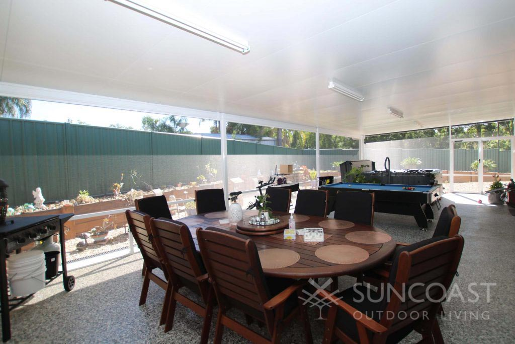 Screened outdoor entertaining and games area