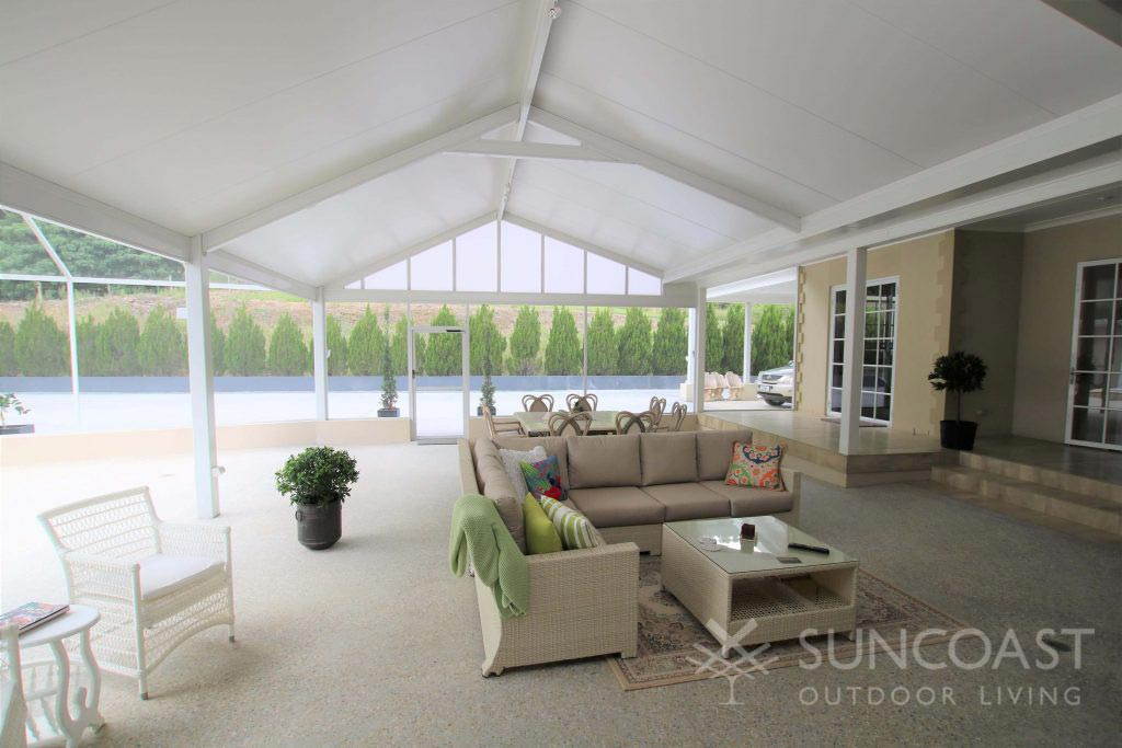 Custom patio with gabled roof