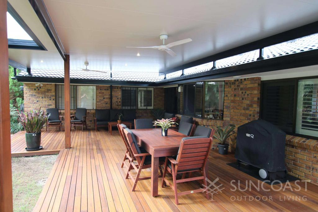 Decked patio area with insulated roof