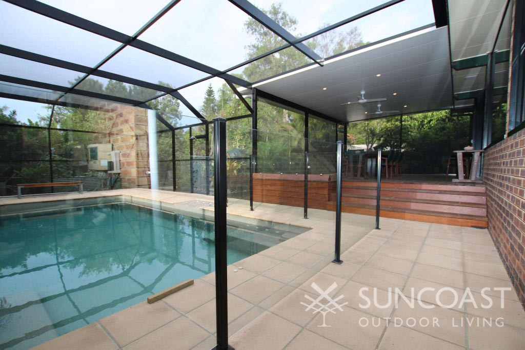 Swimming pool enclosure for large pool and alfresco area