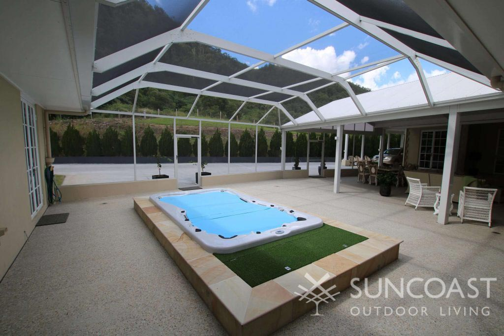 Large patio and spa enclosure