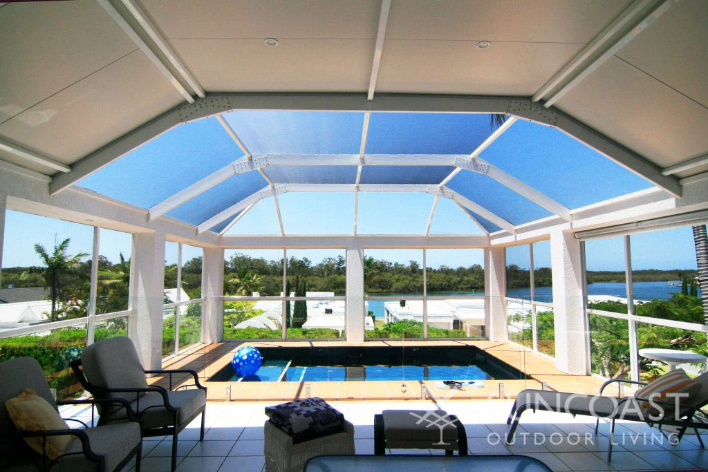 Luxury pool enclosure overlooking Moreton Bay