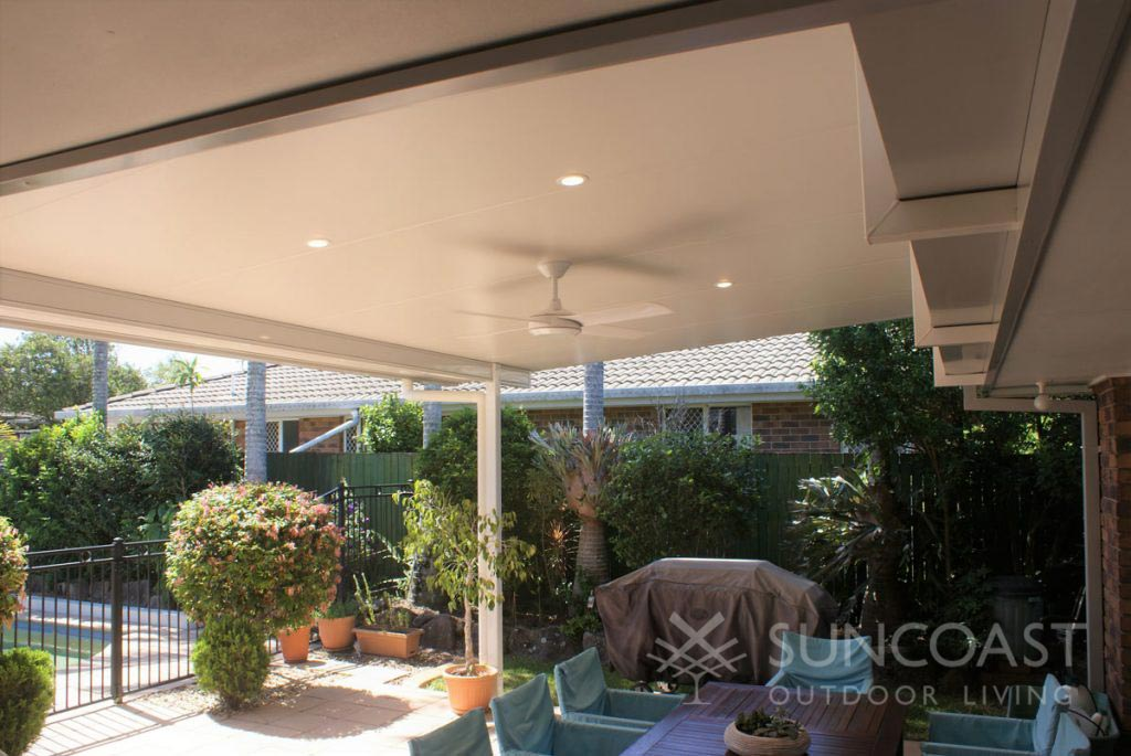 Insulated patio roof with ceiling lights and outdoor fan