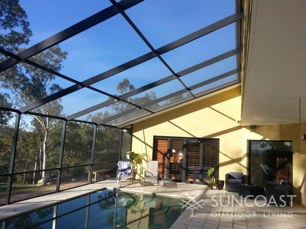 Screened pool enclosure in the afternoon QLD sun