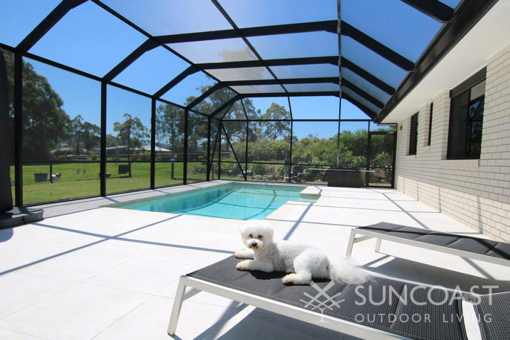South East Queensland mesh pool enclosure with dog on sun lounge