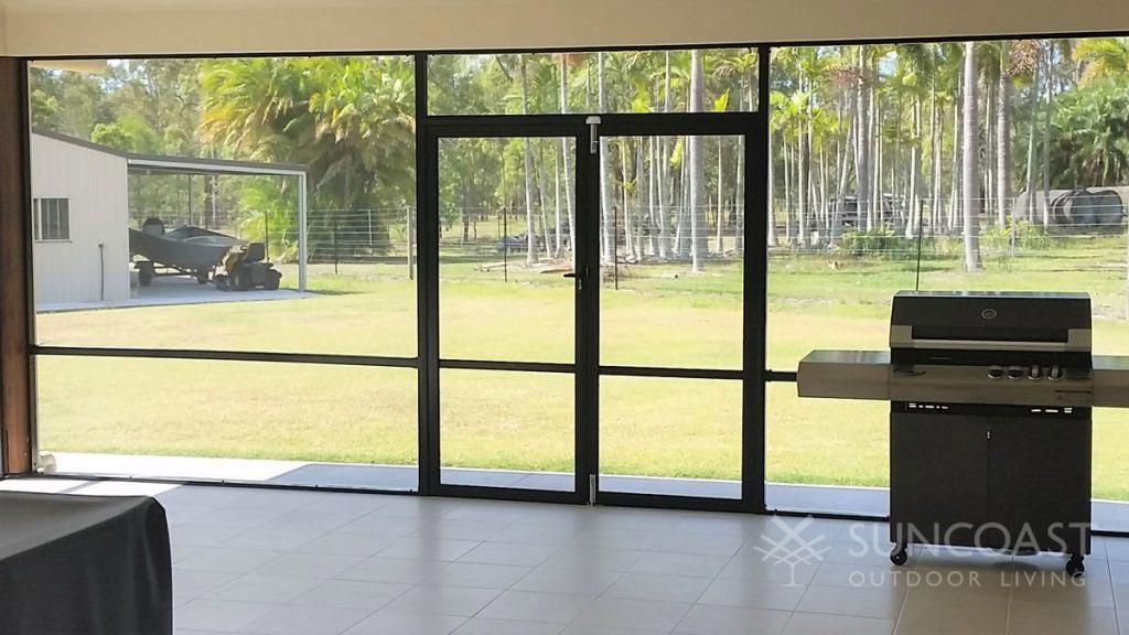 Games room with double swing screen doors